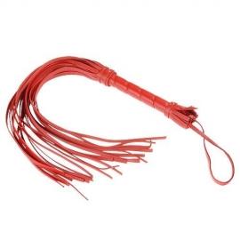 Плеть-флоггер гладкий из кожи с жесткой рукоятью общей длиной 40 см, цвет красный