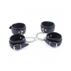 Набор наручники+оковы с фиксацией черный