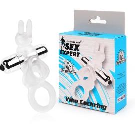 Двойное эрекционное кольцо с вибрацией и стимулятором в виде кролика, цвет прозрачный, Sex Expert
