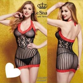 Ажурное платье цвет черный с красной отделкой S-L