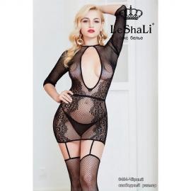 Платье-комбинезон с длинным рукавом цвет черный S - L