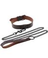 Эффектный темно-коричневый ошейник с цепью-поводком, длина поводка 120 см.