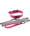 Эффектный розовый ошейник с цепью-поводком, длина поводка 120 см.