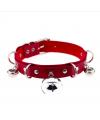 Красный ошейник с кольцами и колокольчиками
