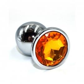 Металлическая анальная пробка с оранжевым кристаллом