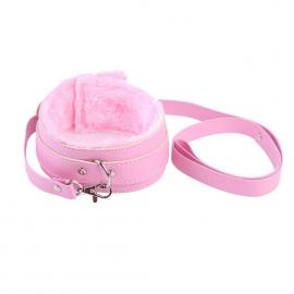 Ошейник с меховой подкладкой и поводком, цвет розовый